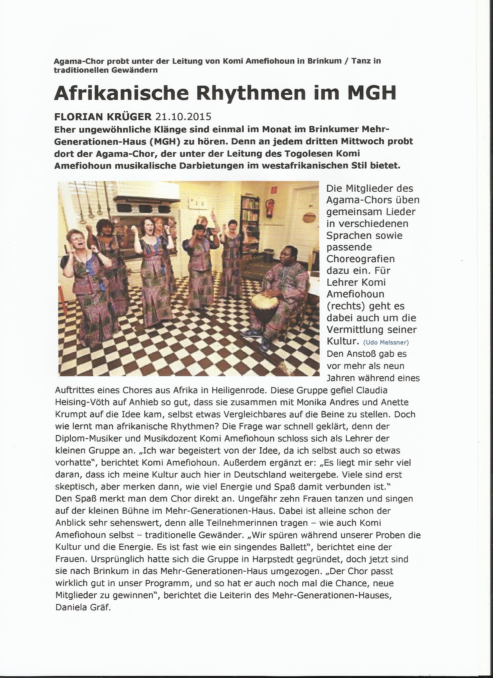 Afrikanische Rhythmen im MGH Brinkum Oktober 2015