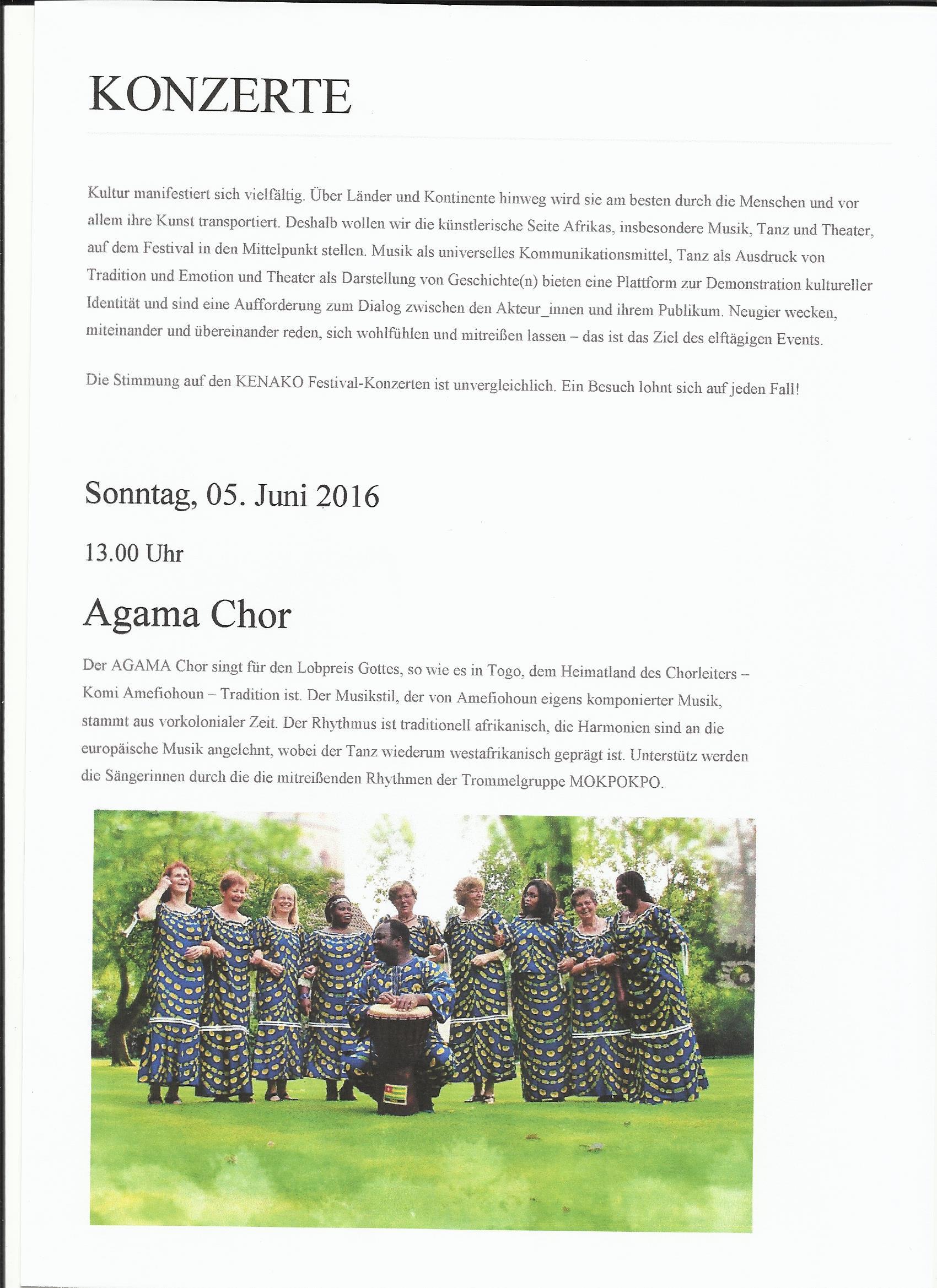 Vorankündigung - Konzert am 5. Juni 2016 Beim KeNaKo-Festival i